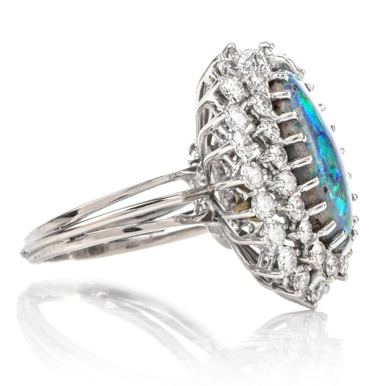 1950s Opal Double Halo Diamond 18 Karat White Gold Cocktail Ring In Excellent Condition For Sale In Miami, FL