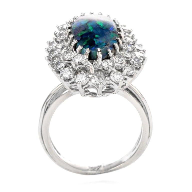 Women's 1950s Opal Double Halo Diamond 18 Karat White Gold Cocktail Ring For Sale