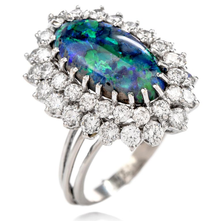 1950s Opal Double Halo Diamond 18 Karat White Gold Cocktail Ring For Sale 1