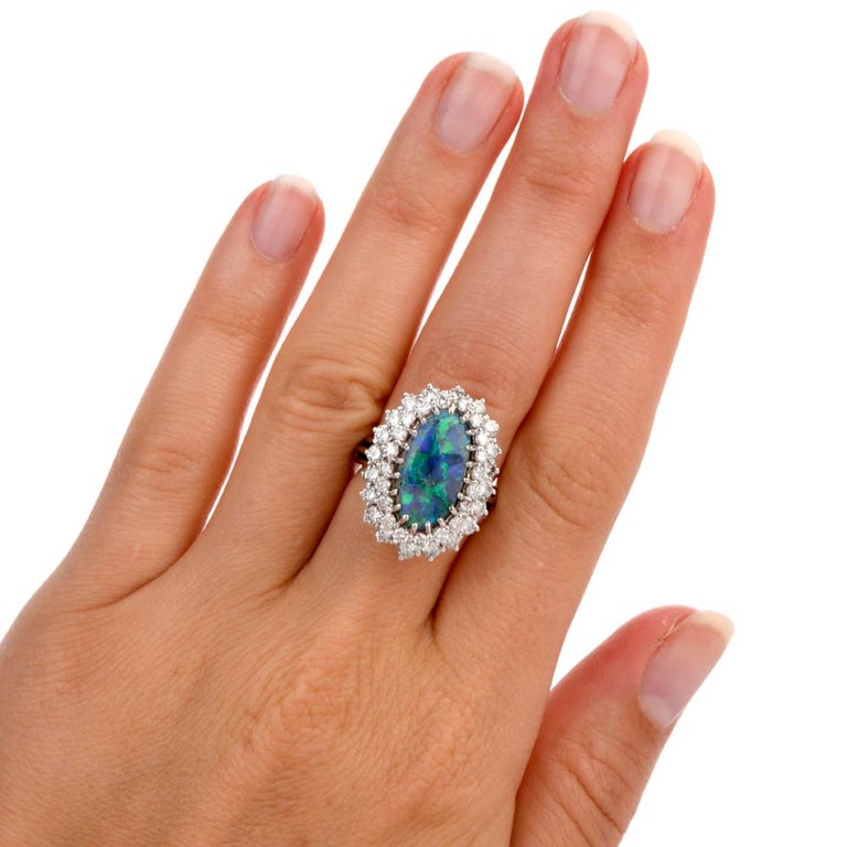 1950s Opal Double Halo Diamond 18 Karat White Gold Cocktail Ring For Sale 2
