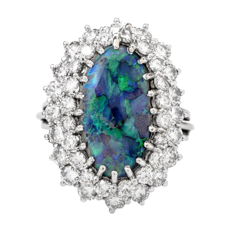 1950s Opal Double Halo Diamond 18 Karat White Gold Cocktail Ring For Sale