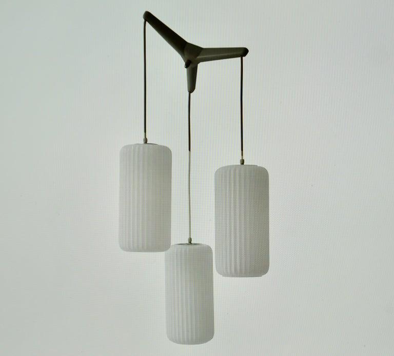 Italian 1950s Opaline Glass Pendant Light  For Sale
