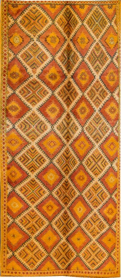 Vintage Orange Moroccan Handmade Tribal Wool Rug