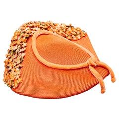 1950s Orange Straw and Floral Spray Hat