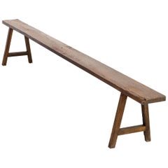 1950s Organic Shaped Wooden French Bench