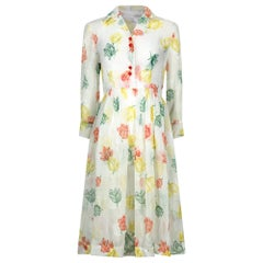 1950s Organza Floral Tulip Print Shirt Dress