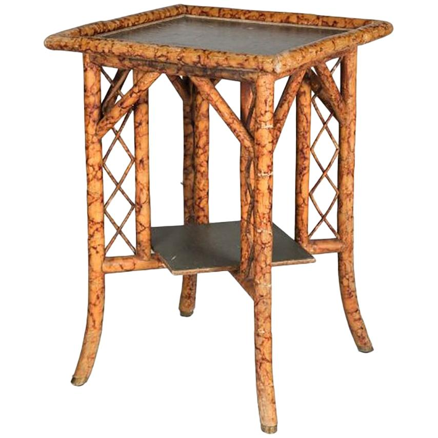 1950s Oriental Square Bamboo and Wood Side Table
