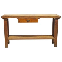 1950s Original Distressed Wood Work Bench with Drawer and Lower Shelf