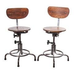 1950s Original French Bienaise Swivelling Atelier, Desk Chairs, Pair