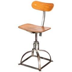 1950s Original French Bienaise Swivelling Workshop Chair, Low Desk Chair