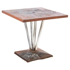 1950's Original French Tolix Outdoor Dining Table, Four Column Base '1116.2'
