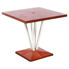 1950's Original French Tolix Outdoor Dining Table, Four Column Base