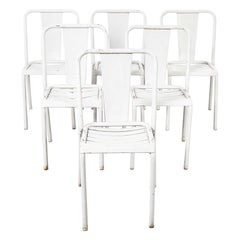 1950s Original French Tolix T4 Metal Light Grey Café Dining Chairs, Set of Six