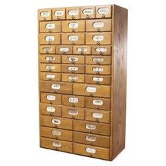 1950's Original German Oak Stockroom Bank of Drawers '1292.2'