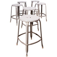 1950s Original Industrial Nicholle Stacking Stools, Set of Six
