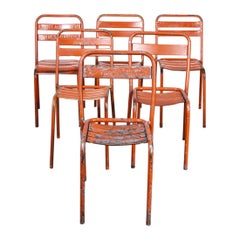 1950's Original Red French Tolix T2/T1 Metal Dining Chairs -Harlequin Set of Six