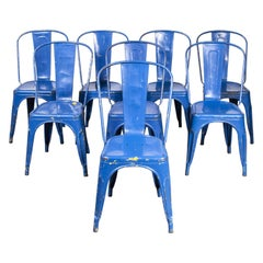 1950's Original Tolix Model a Dining Outdoor Chairs, Set of Eight
