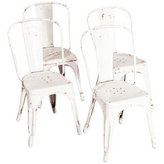 1950s Original Tolix Model A Dining Outdoor Chairs, Set of Four