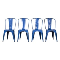 1950's Original Tolix Model A Dining Outdoor Chairs, Set of Four