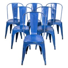 1950's Original Tolix Model A Dining Outdoor Chairs, Set of Six