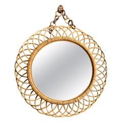1950s Orignal Italian Circular Bamboo Mirror by Franco Albini on Bamboo Chain