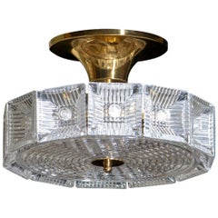 1950s Orrefors Crystal and Brass Flush Mount or Pendant, Carl Fagerlund, Sweden