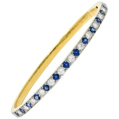 1950s Oscar Heyman Sapphire Diamond 18 Karat Gold Platinum Bangle Bracelet