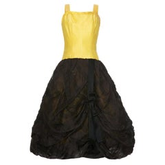 1950s Outstanding American Couture Yellow and Black Silk Bubble Dress