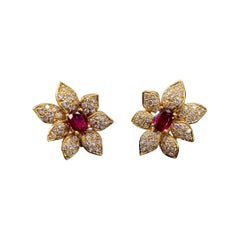 1950s Oval Ruby Round Brilliant Diamond Flower Clip Earrings Yellow Gold French