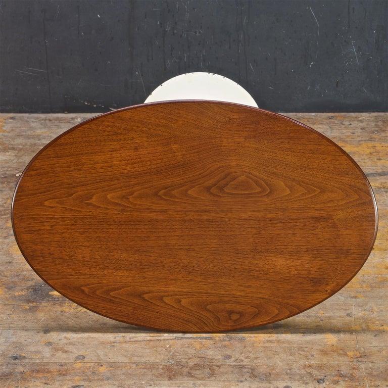 American 1950s Oval Walnut Tulip Side Table Madison Avenue Eero Saarinen Knoll Elliptical For Sale