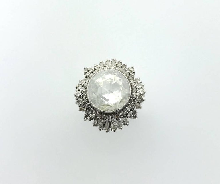 Anglo-Indian 1950S Oversized Antique Rose Cut Diamond Indian Ring