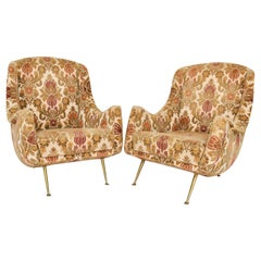 1950s Overstuffed Lounge Club Chairs on Flaired Brass Legs Paolo Buffa, Italy