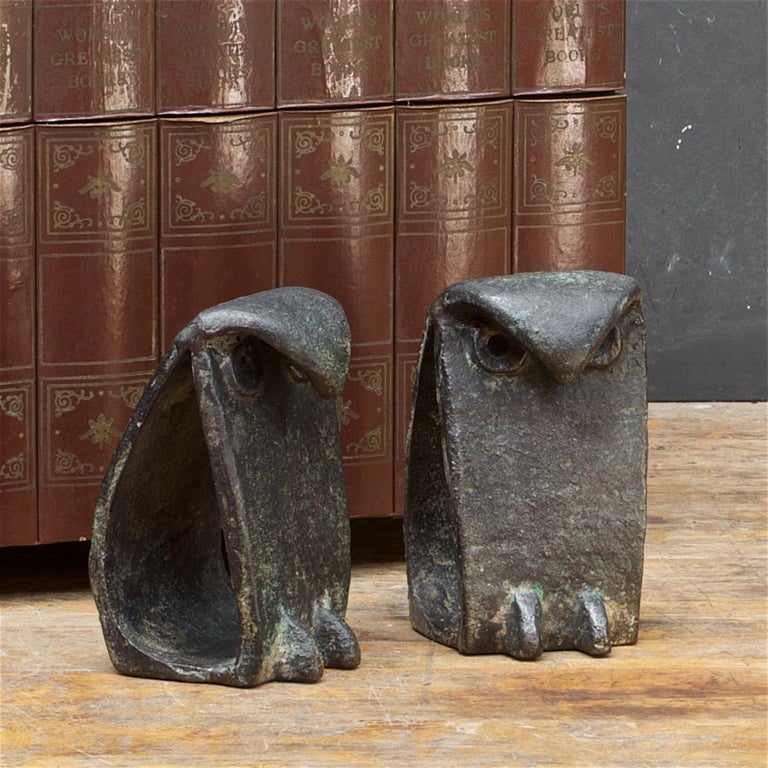 Mid-Century Modern 1950s Owl Sculptures Birds Midcentury Brutalist Japan Iron after Isamu Noguchi For Sale