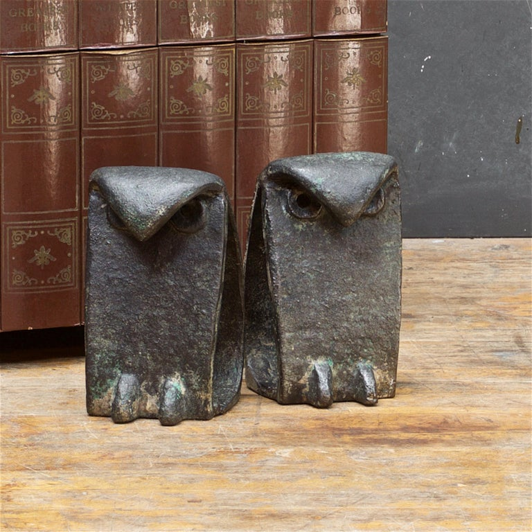 Japanese 1950s Owl Sculptures Birds Midcentury Brutalist Japan Iron after Isamu Noguchi For Sale