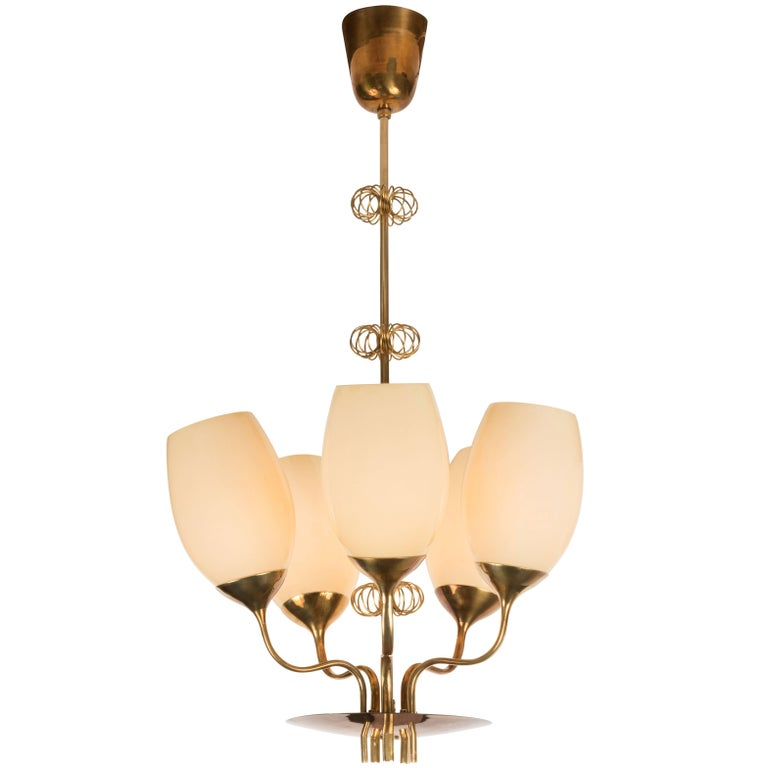 1950s Paavo Tynell Five-Glass Chandelier for Taito Oy For Sale