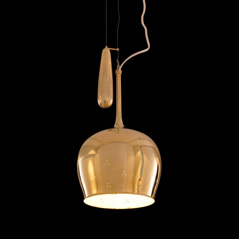 1950s Paavo Tynell A1957 Counterweight Pendant In Good Condition For Sale In Glendale, CA