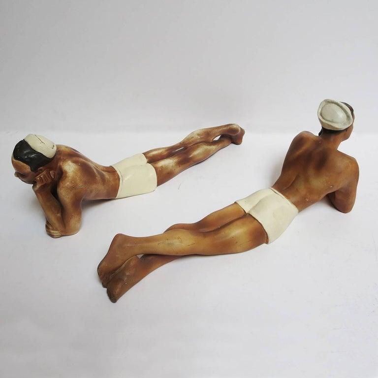 1950s Painted Chalkware Shirtless Sailors In Good Condition For Sale In Los Angeles, CA