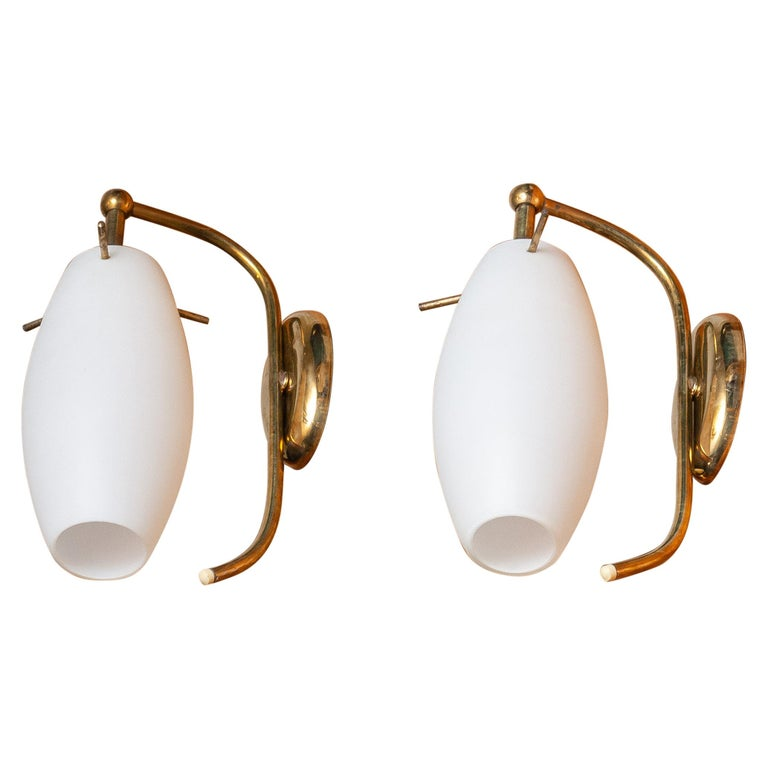 1950s, Pair of Brass Stilnovo Wall Lights with Opaline Shades / Vases, Italy For Sale