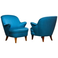 1950s Pair Club / Lounge Chairs in the Manner of Kurt Olsen in Petrol Fabric