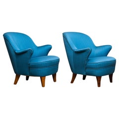 1950s Pair of Club / Lounge Chairs in the Manner of Kurt Olsen in Petrol Fabric