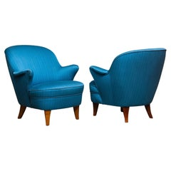 1950s Pair Club / Lounge Chairs in the Style of Otto Schulz for Boet Sweden