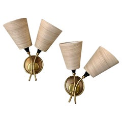 1950s, Pair French Wall Sconces in the Style Mategot