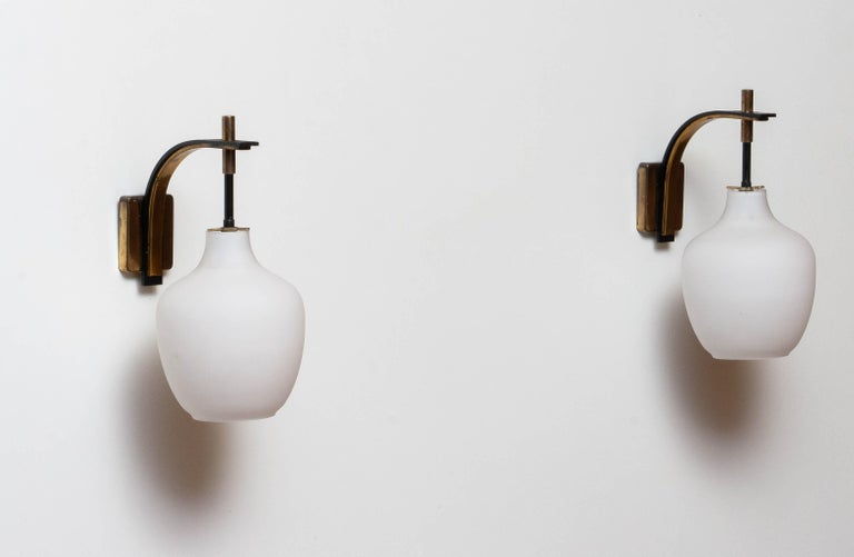 1950s Pair Italian Black and Brass, Frosted Glass and Wall Lights by Stilnovo 6