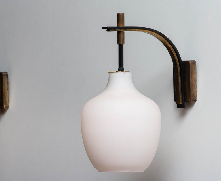 Mid-Century Modern 1950s Pair Italian Black and Brass, Frosted Glass and Wall Lights by Stilnovo
