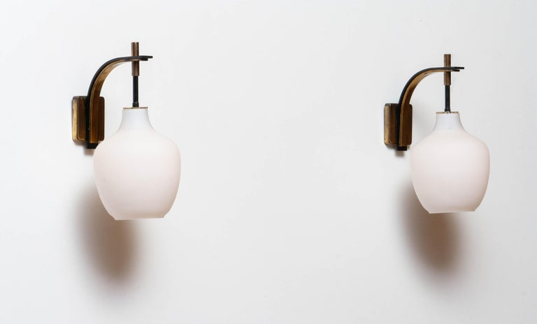 1950s Pair Italian Black and Brass, Frosted Glass and Wall Lights by Stilnovo 3