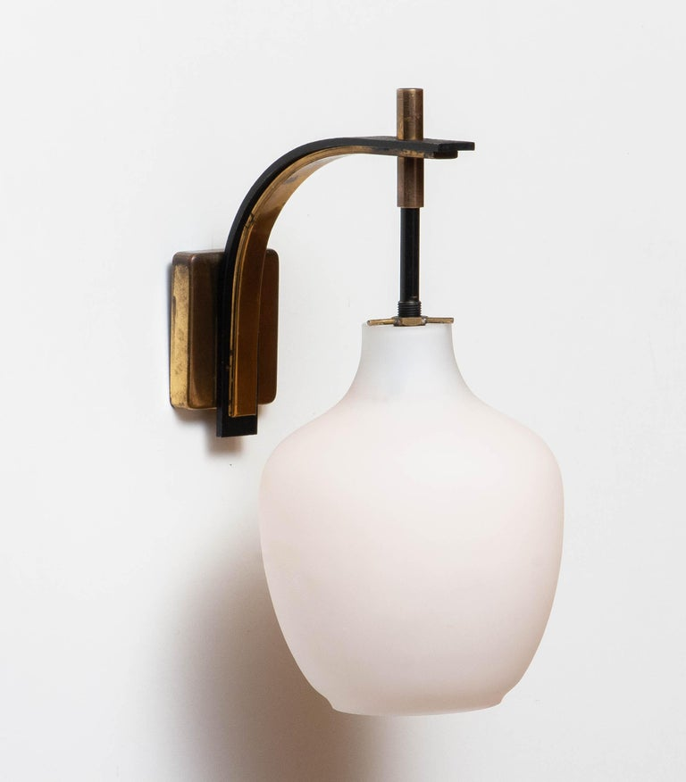 1950s Pair Italian Black and Brass, Frosted Glass and Wall Lights by Stilnovo 4