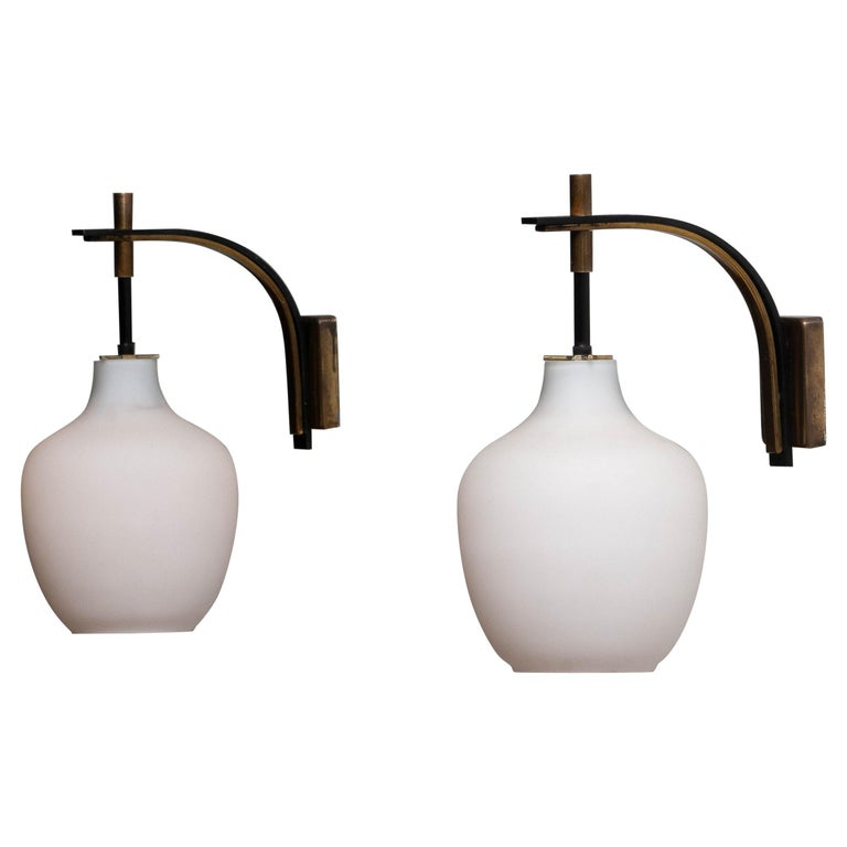 1950s Pair Italian Black and Brass, Frosted Glass and Wall Lights by Stilnovo