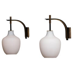1950s Pair of Italian Black and Brass, Frosted Glass and Wall Lights by Stilnovo