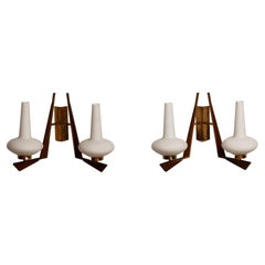 1950s Pair Large Italian Brass, Frosted Glass and Teak Double Arms Wall Lights