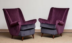 1950's Pair Lounge / Easy Chairs Designed Gio Ponti Made By ISA Bergamo Italy
